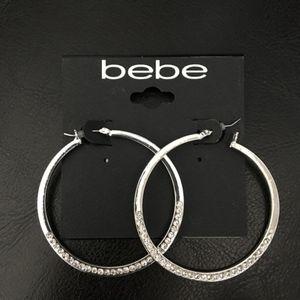 bebe Silver & Crystal Hoops New on card